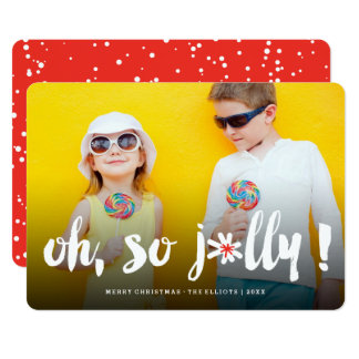 Oh So Jolly! Pom Pom Brush Cute Holiday Photo Card