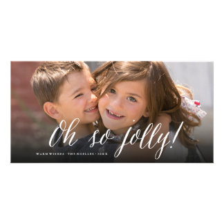 Oh So Jolly! Simple Script Fun Holiday Photo Card