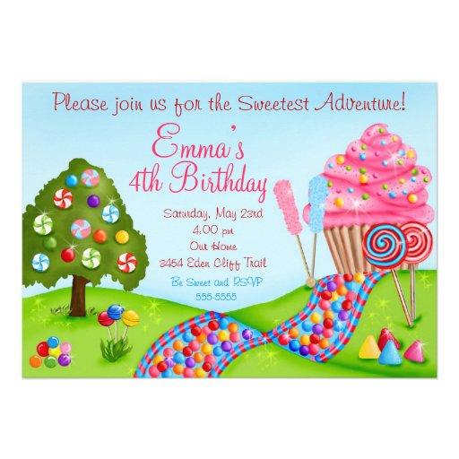 Oh Sweet Candy Land Birthday Cupcake Invitations