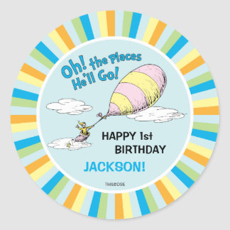 Oh! The Places He'll Go! - First Birthday Round Sticker