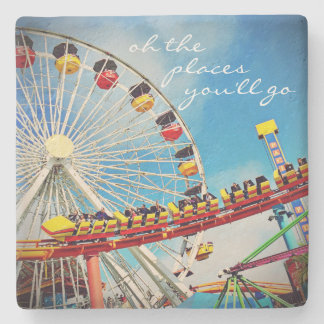 """""""Oh the Places"""" Quote Fun, Huge Ferris Wheel Photo Stone Coaster"""