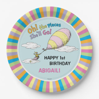 Oh! The Places She'll Go! - First Birthday 9 Inch Paper Plate