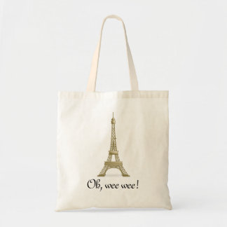 Oh, Wee Wee: Eiffel Tower Tote Budget Tote Bag