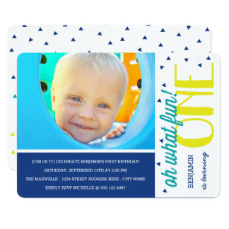 Oh What Fun 1st Birthday Photo Party Invite / Blue