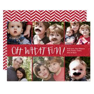 Oh What Fun 6 photo Holiday Photo Card