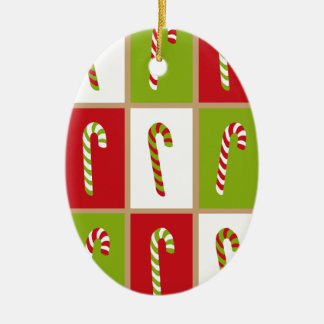 Oh What Fun! Candy canes design Ceramic Oval Decoration