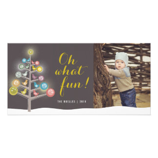 Oh What Fun Chicks Winter Tree Holiday Photo Card