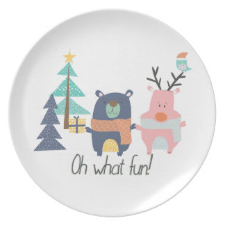 Oh What Fun! Christmas character plate