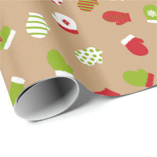 Oh What Fun! Christmas mittens wrapping paper