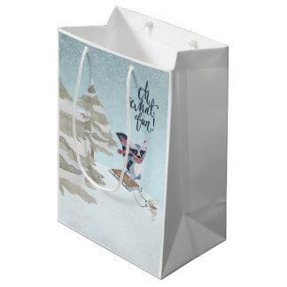 Oh What Fun Christmas Raccoon and Rabbit Sledding Medium Gift Bag