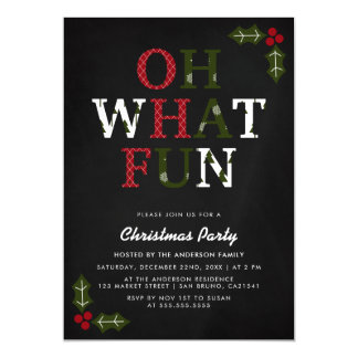 OH WHAT FUN | Christmas Typography & Holly Party Magnetic Card