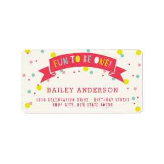 Oh What Fun Colorful Confetti Girl 1st Birthday Label