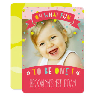 Oh What Fun Confetti First Birthday Party Invite