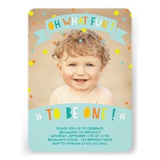 Oh What Fun Confetti First Birthday Party Invite