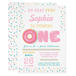 Oh What Fun Donut First Birthday Party Invitation
