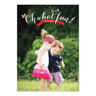 Oh what fun   Holiday Photo Card 13 Cm X 18 Cm Invitation Card