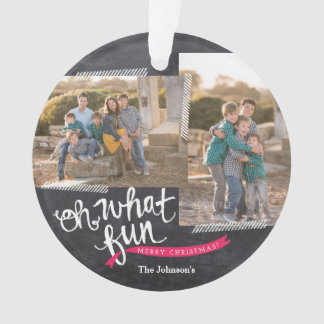 Oh What Fun Holiday Ribbon Photo Ornament