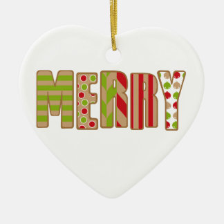 Oh What Fun! Merry Christmas design Ceramic Heart Decoration