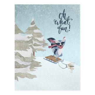 Oh What Fun Racoon and Bunny Christmas Postcard