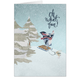 Oh What Fun Racoon and Rabbit Christmas Card