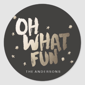 OH WHAT FUN STICKER Christmas sticker