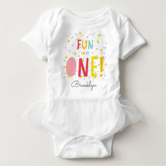 Oh What Fun To Be ONE Confetti 1st Birthday Party Baby Bodysuit