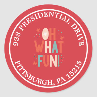 Oh What Fun! Typography Address Label Sticker