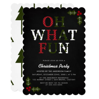 OH WHAT FUN Typography & Christmas Trees | Party Card