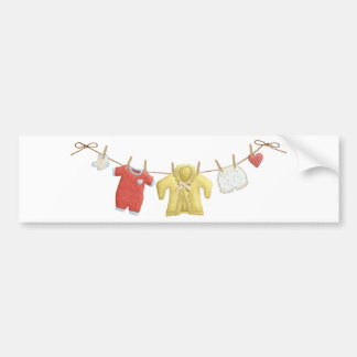 OhBaby ADORABLE BABY CLOTHES HANGING CLOTHESLINE P Bumper Sticker