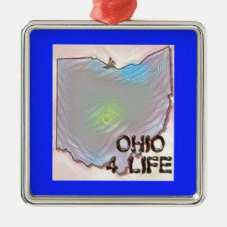 """Ohio 4 Life"" State Map Pride Design Metal Ornament"
