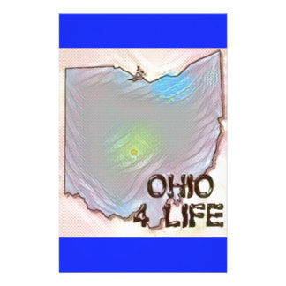 """""""Ohio 4 Life"""" State Map Pride Design Personalized Stationery"""