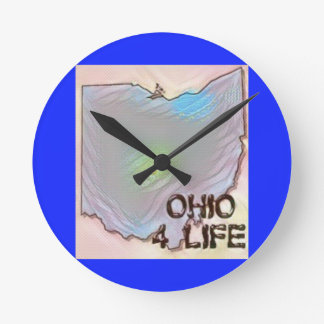 """Ohio 4 Life"" State Map Pride Design Round Clock"