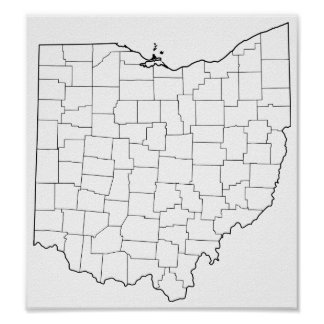 Ohio Counties Blank Outline Map Poster