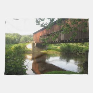 Ohio Covered Bridge and Stream Tea Towel