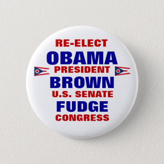 Ohio for Obama Brown Fudge 6 Cm Round Badge