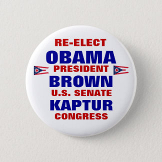 Ohio for Obama Brown Kaptur 6 Cm Round Badge