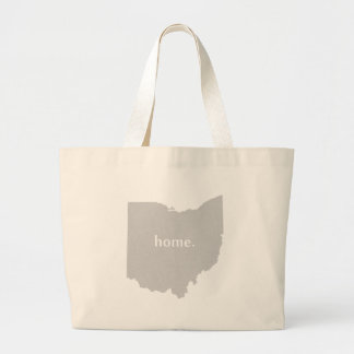Ohio home silhouette state map large tote bag