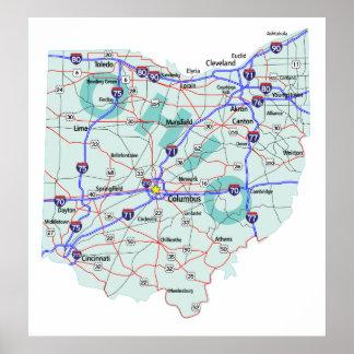 Ohio Interstate Map Print