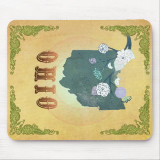 Ohio Map With Lovely Birds Mouse Pad