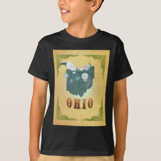 Ohio Map With Lovely Birds T-shirt