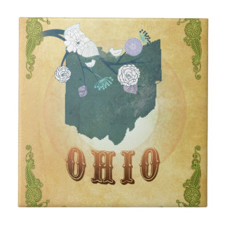Ohio Map With Lovely Birds Small Square Tile