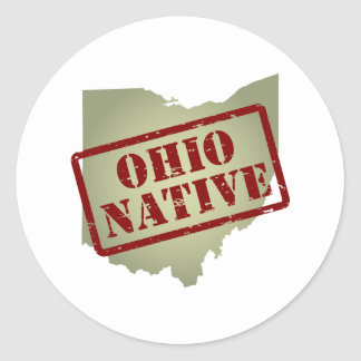 Ohio Native Stamped on Map Classic Round Sticker