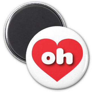 Ohio oh red heart 6 cm round magnet
