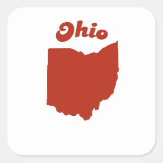 OHIO Red State Square Sticker