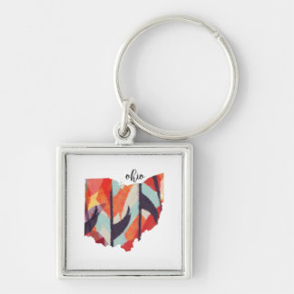 Ohio silhouette hand lettering Silver-Colored square key ring