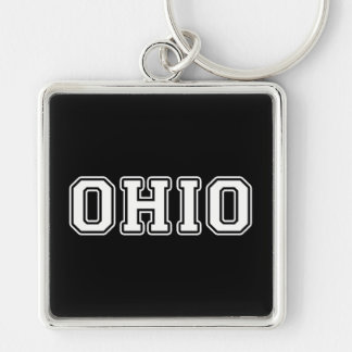 Ohio Silver-Colored Square Key Ring