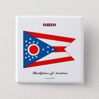 Ohio state flag and slogan 15 cm square badge