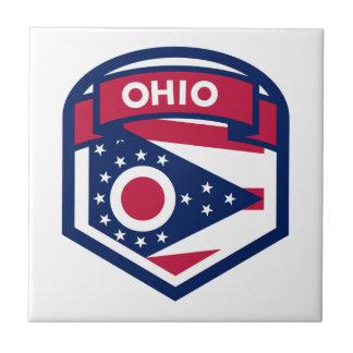 Ohio State Flag Crest Shaped Ceramic Tile