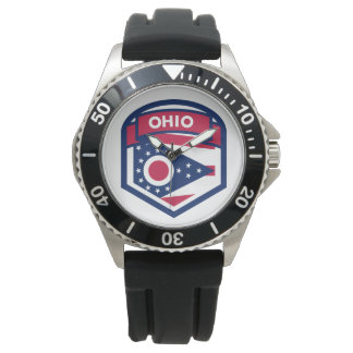 Ohio State Flag Crest Shaped Watch