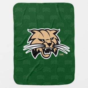 Ohio University Bobcat Logo Watermark Baby Blanket